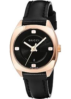 9a0db03de02 Gucci Swiss Quartz Gold-Tone and Leather Dress Black Women s Watch(Model   YA142509