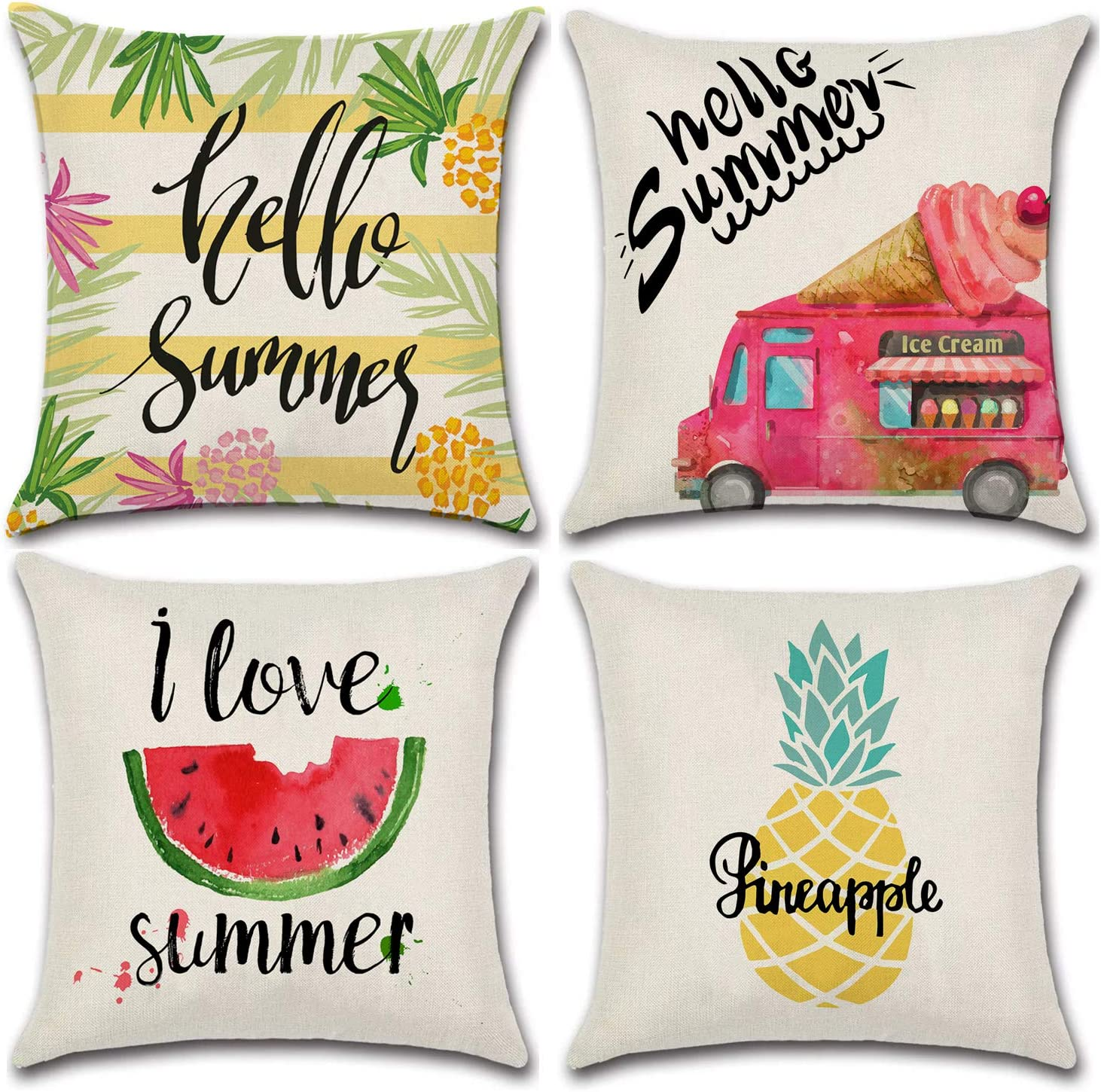 JOJUSIS Spring Theme Flower Bicycle Throw Pillow Covers Cotton Linen Home Decor Decorative Cushion Cases 20 x 20 inch Set of 4