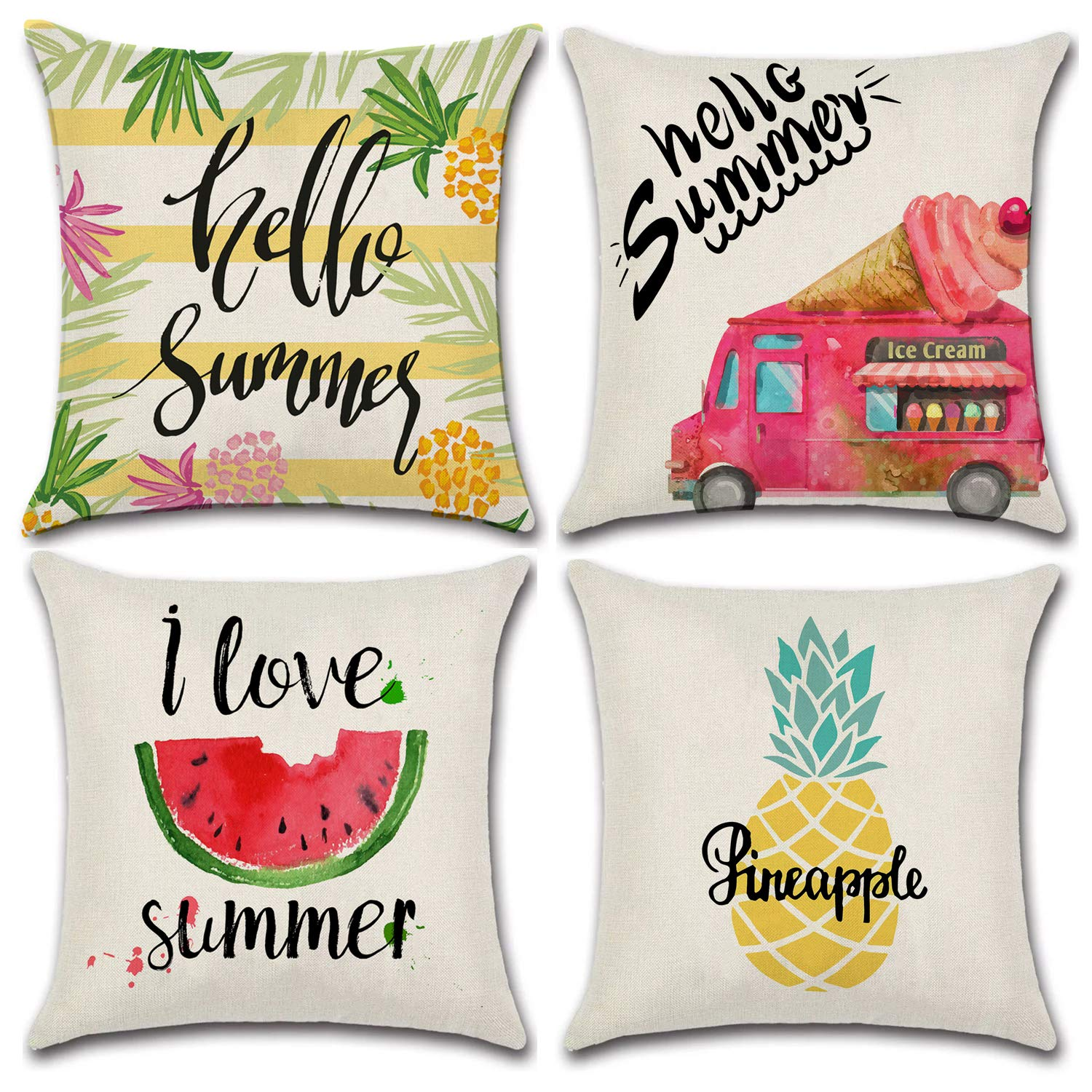 JOJUSIS Summer Throw Pillow Covers Decorative Pillowcases 18x18 Inch Set of 4 Pineapple Ice Cream