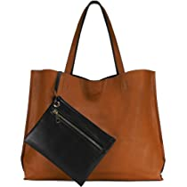 92e60fd4cb83 Reversible Tote Bag - Vegan Leather Womens Shoulder Tote with Wristlet