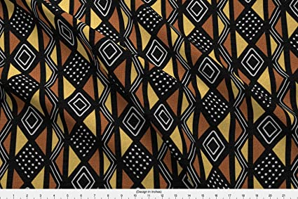 Spoonflower African Fabric - Mudcloth Diamonds Geometric Brown Copper Buff  by Eclectic House Printed on Lightweight Cotton Twill Fabric by The Yard