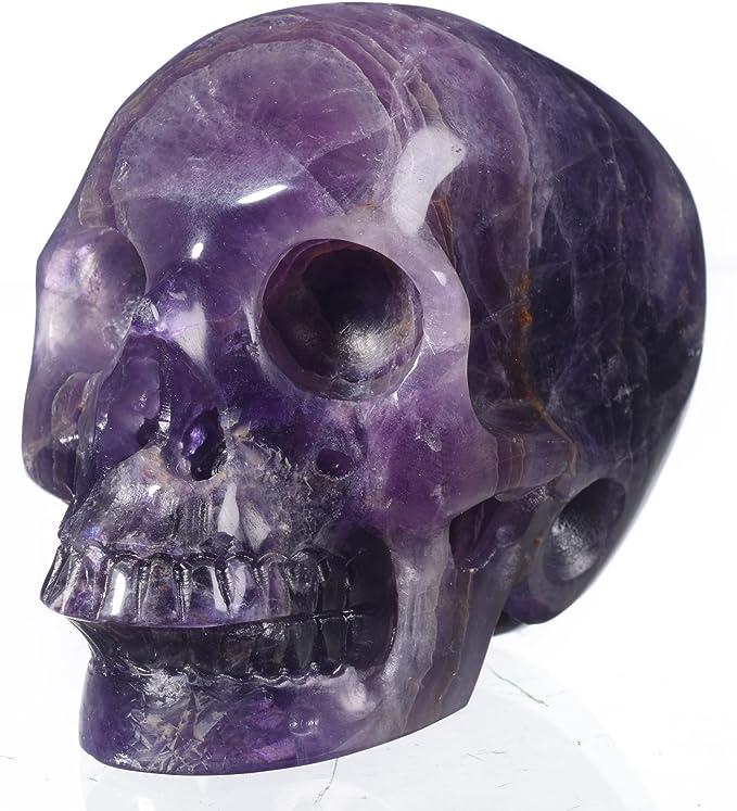 Wixine 1Pcs Natural Quartz Crystal Skull Carved Rainbow Fluorite Hedgehog Stone Healing