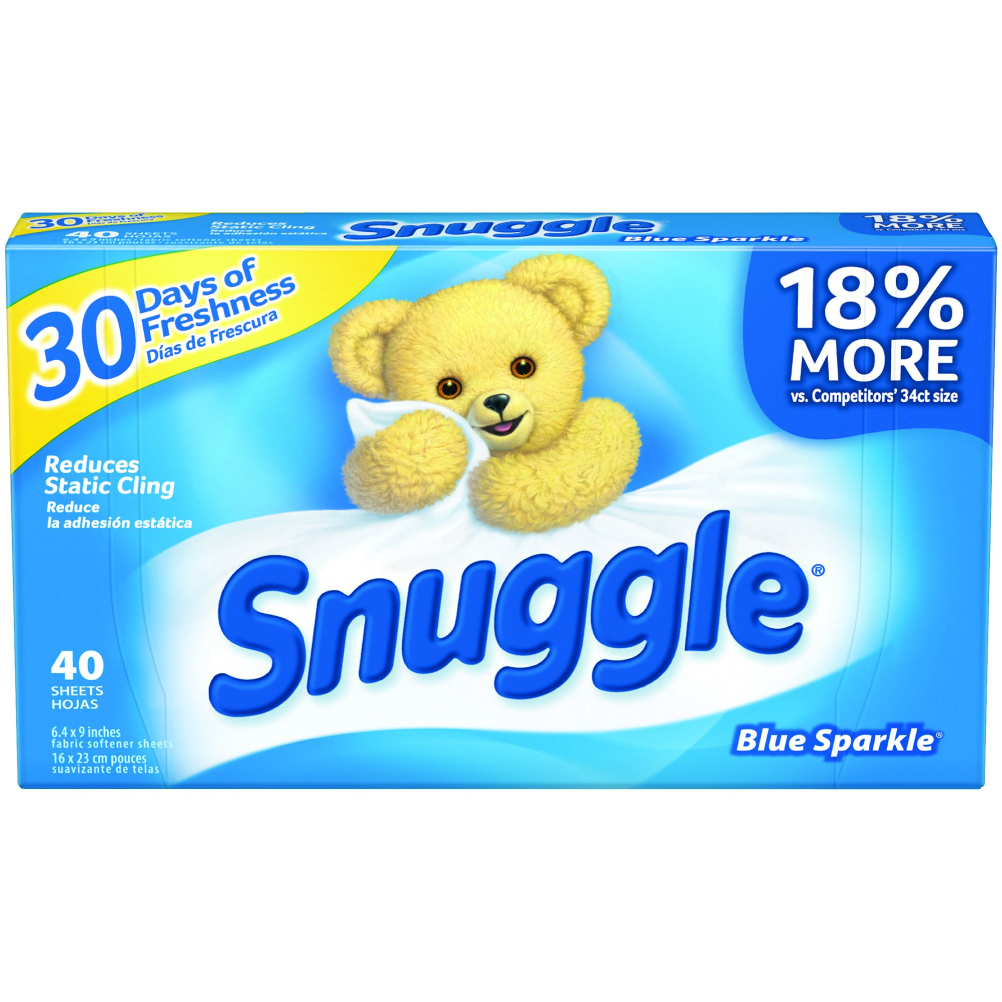 Snuggle Fabric Softener Sheets (Blue Sparkle, 40-Count, Case of 12) by Diversey