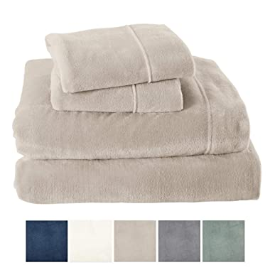 Extra Soft Cozy Velvet Plush Sheet Set. Deluxe Bed Sheets with Deep Pockets. Velvet Luxe Collection (King, Light Grey)
