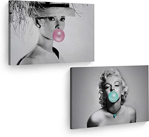 Audrey Hepburn and Marilyn Monroe Pop Art Bubble Gum Chewing Gum Black and White Canvas Print Two-Piece Set/Home Decor/Icon Wall Art/Gallery Wrapped Canvas/Ready to Hang 30×40