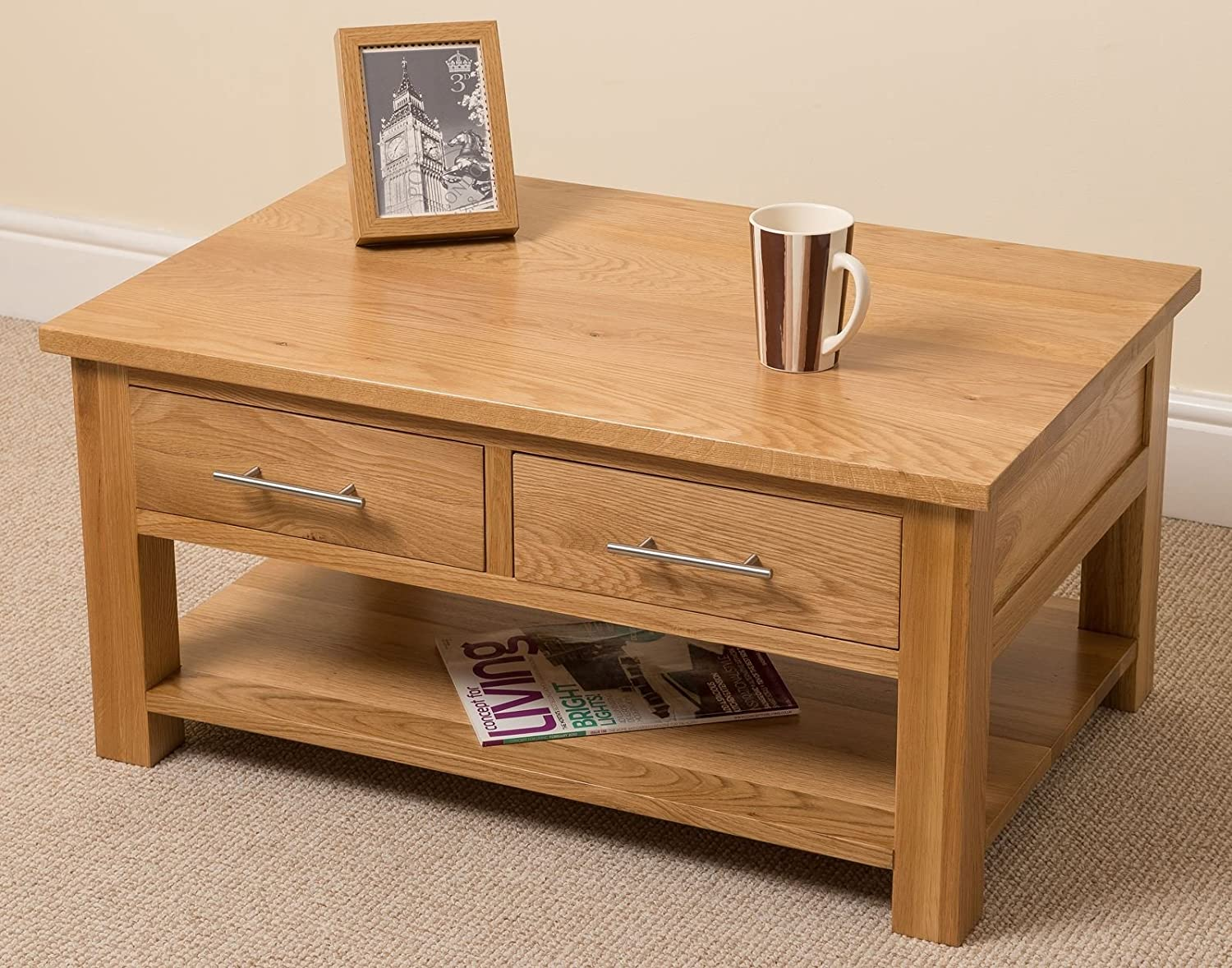 Oslo Solid Oak 2 Drawer Coffee Table 90 x 43 x 60 cm Amazon