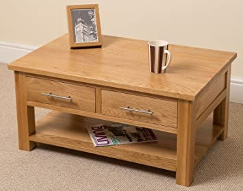 Oak Furniture King Small Oak Coffee Table With Storage Natural Oak