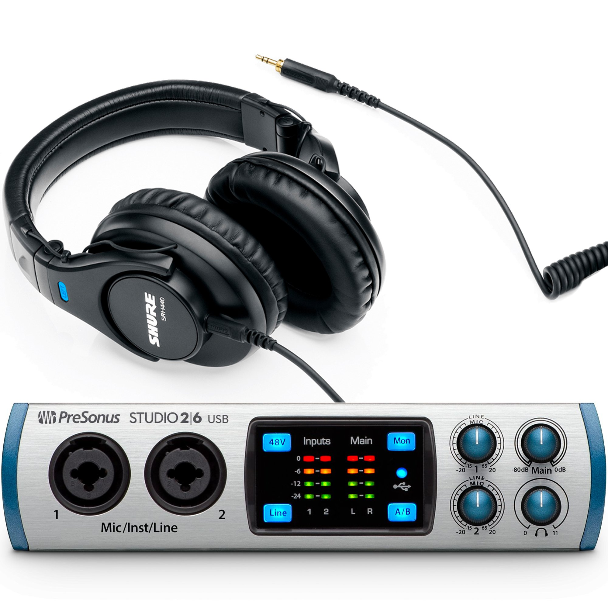 Presonus Studio 26 USB Audio MIDI Interface with Shure SRH440 Monitoring Headphones