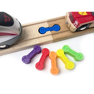 TrainLab Dog Bone Train Track Adapter Connectors (6pcs) (Rainbow): Toys & Games