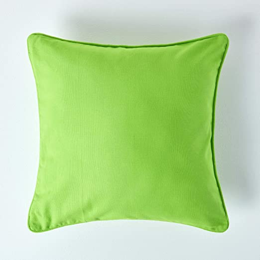 Homescapes – 100% Algodón Cojín con Relleno, Color Verde – Bright Verde Lima – Funda 100% Algodón, Relleno Pad – Lavable, 100% Algodón, Verde, 45 x 45 cm: Amazon.es: Hogar