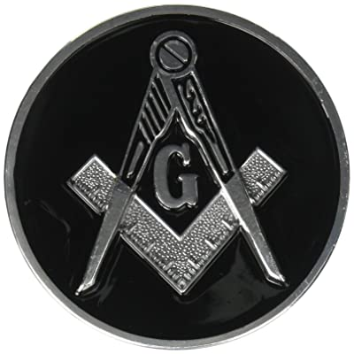 "Square & Compass Round Black & Silver Masonic Auto Emblem - 3"" Diameter: Automotive"