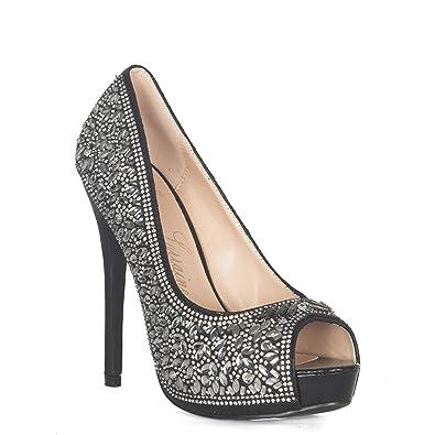 46d9e4501d Lauren Lorraine Silver Candy 3 Crystal Glitter Peep Toe Pump Size 5.5
