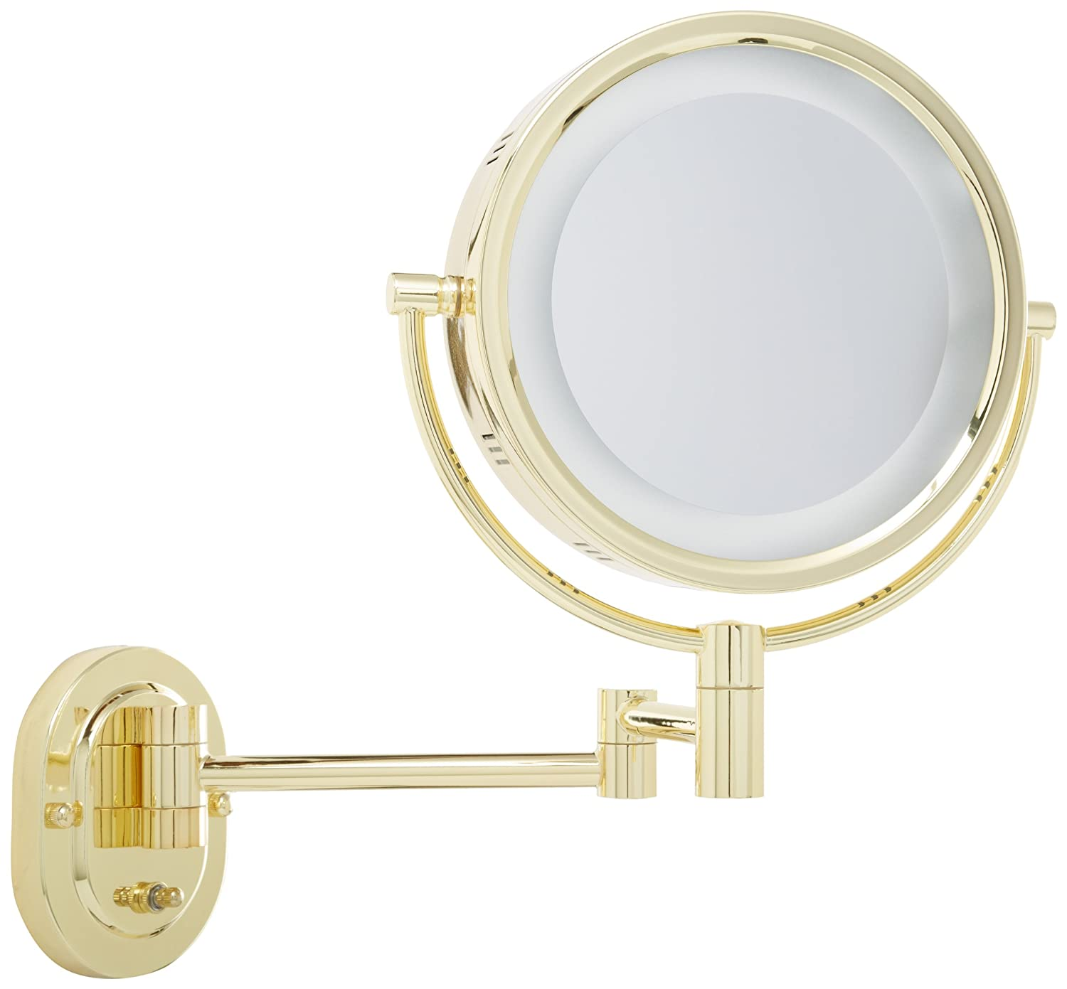 Jerdon HL65G 8-Inch Two-Sided Swivel Halo Lighted Wall Mount Mirror with 5x Magnification, 14-Inch Extension, Gold Finish
