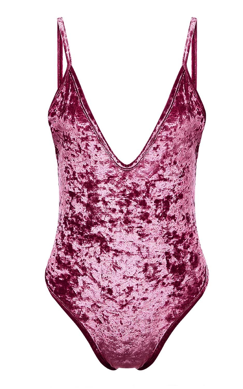 FUNOC Women's Swimsuit V Neck Backless Velvet Jumpsuit Romper Bodysuit