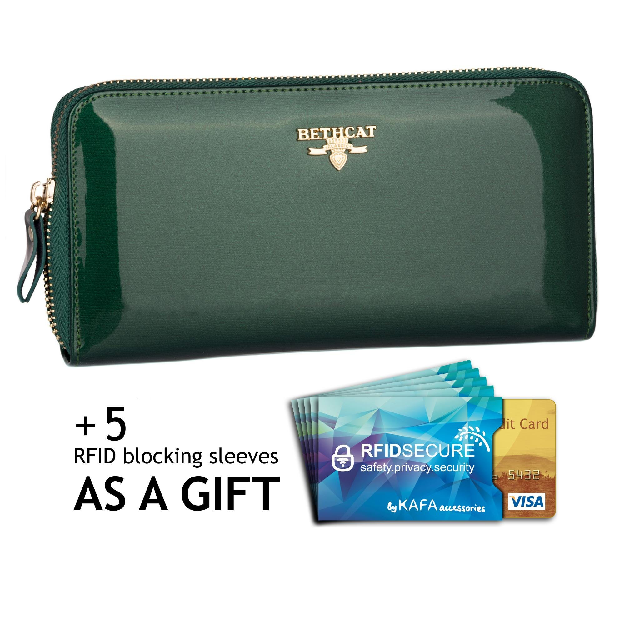 Women's Wallet Zip Around Card Holder Clutch Patent Genuine Leather Good Quality