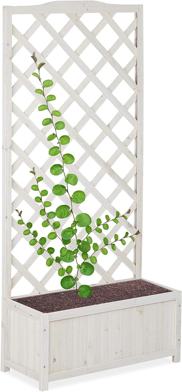 Relaxdays Pérgola de jardín, Enrejado de Madera, Decoración de Exterior, Macetero, 35 L, 150 cm, Blanco: Amazon.es: Hogar