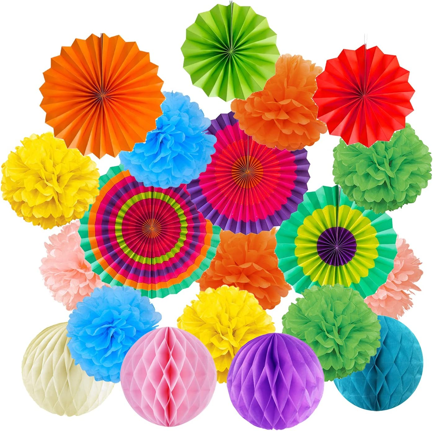20Pcs Paper Flower Balls Pom-poms Honeycomb Balls for Birthday Party Wedding Ceiling and Home Decorations