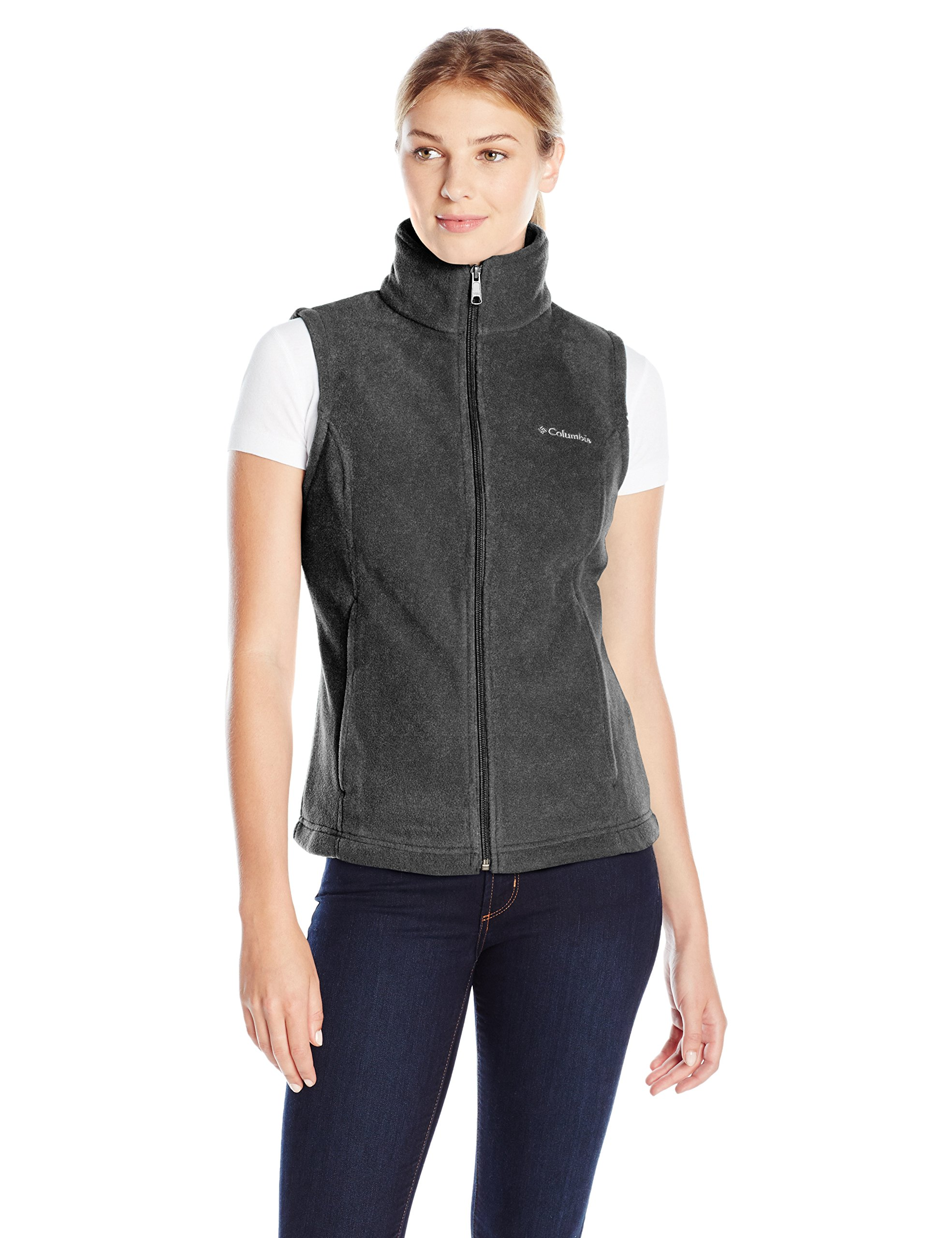 Columbia Women's Petite Benton Springs Vest - Petite Outerwear, Charcoal Heather, PM