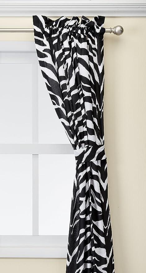 lovely Zebra Kitchen Set Part - 12: Zebra Print Window Panel Curtains, Set of 2