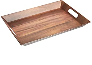 AmazonBasics Large 19-Inch Handled Serving Tray - Acacia Wood Matte Texture