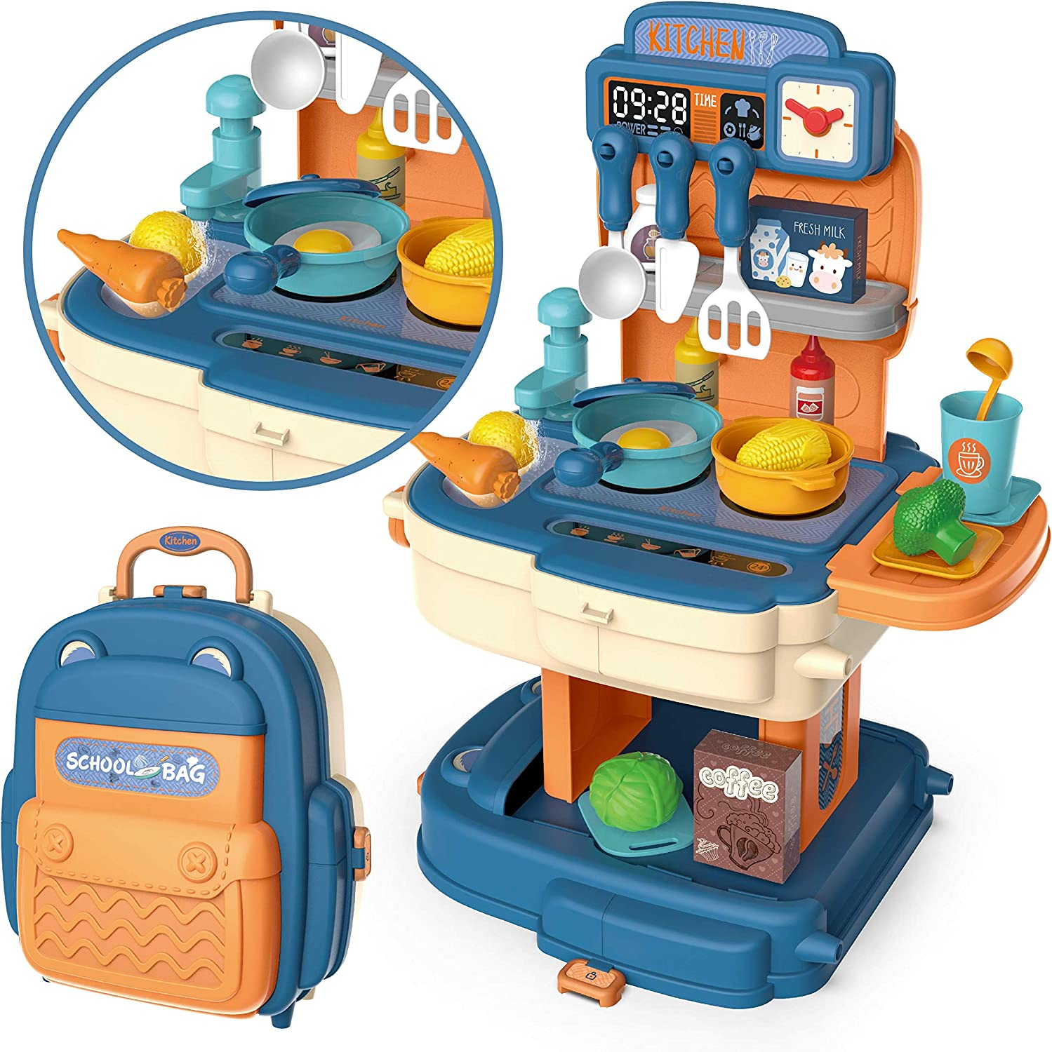 JOYIN Little Kitchen Pretend Playset with Portable Backpack Kids Toy Kitchen Cookware Including Play Food, Pots, Pans, Cooking Utensils and Other Accessories for Girls Boys
