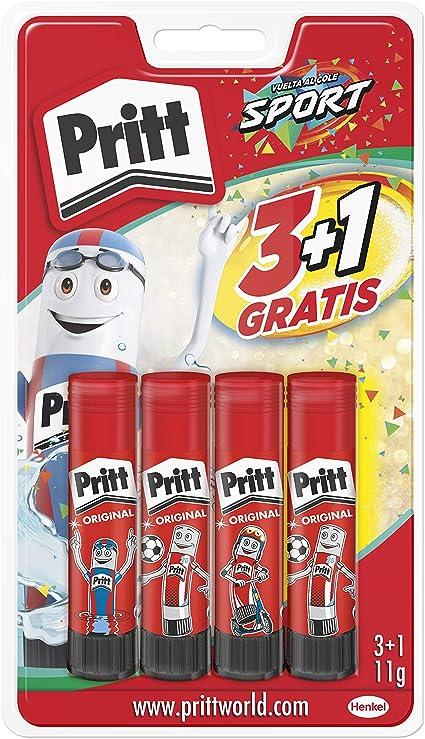 Comprar Pritt Barra Adhesiva, pegamento infantil seguro para niños para manualidades, cola universal de adhesión fuerte para estuche escolar y oficina, 3+1 x 11 g Pritt Stick