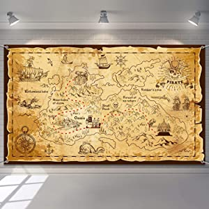Pirate Treasure Map Backdrop Background Island Treasure Map Banner Nautical Wall Tapestry Hanging Decoration for Treasure Hunt Theme Party Birthday Party Photo Shooting Booth Props