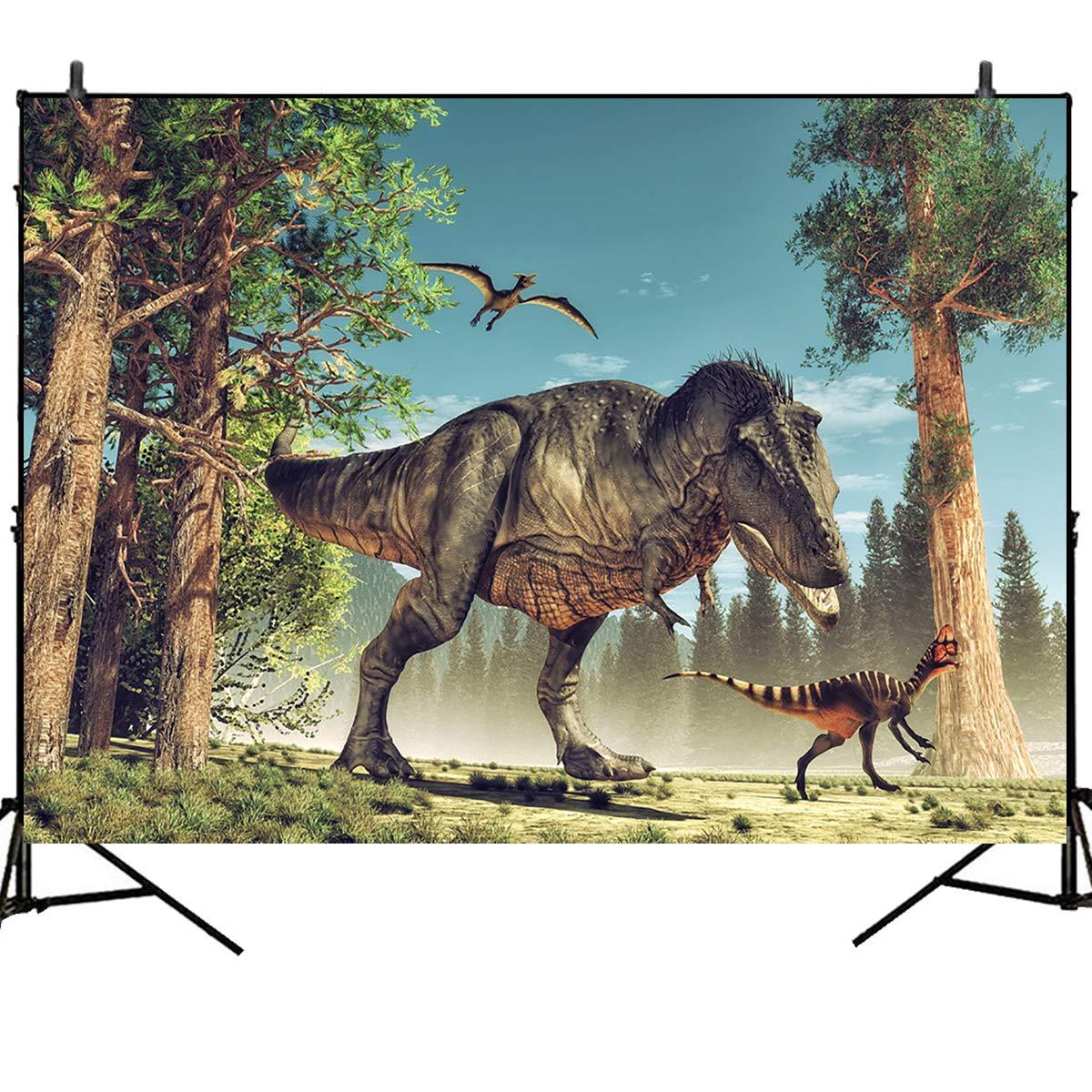 Mehofoto 恐竜写真背景 恐竜テーマ 誕生日パーティーバナー 5x7フィート 森の木 写真スタジオ背景 子供用 大人用   B07GFJ9V7B