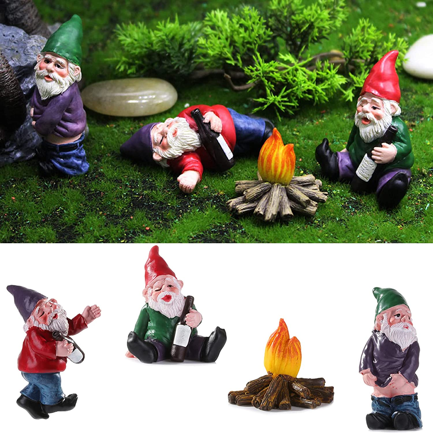 4pcs Fairy Garden Accessories Collectible Figurines Miniature Gardening Gnomes Figurines Ornaments My Little Friend Gnome - Drunk Gnomes Kit offor Fairy Garden (Drunk Gnomes-4)