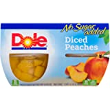 Dole Fruit Bowls Diced Peaches In Water, No Sugar Added, Healthy Snack, 107 ml, 4 Cups