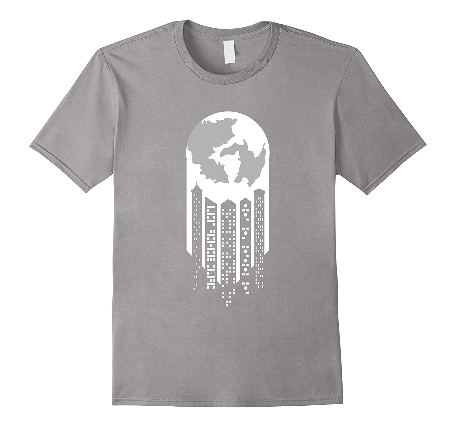 Cityscape Earth Moon Dripping Funny Artistic Surreal T-Shirt-FL