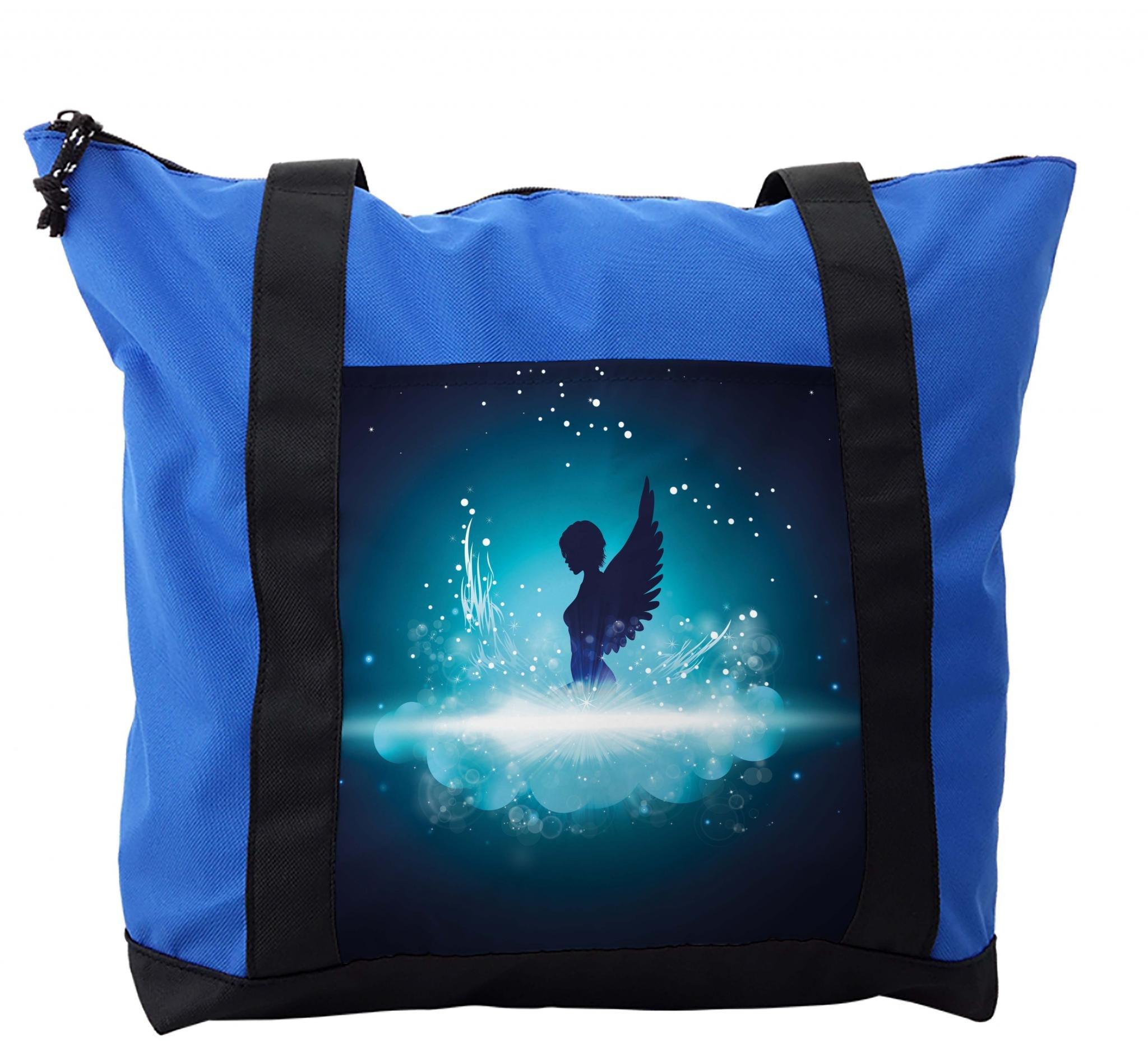 Lunarable Blue Shoulder Bag, Angel Woman Silhouette Wings, Durable with Zipper