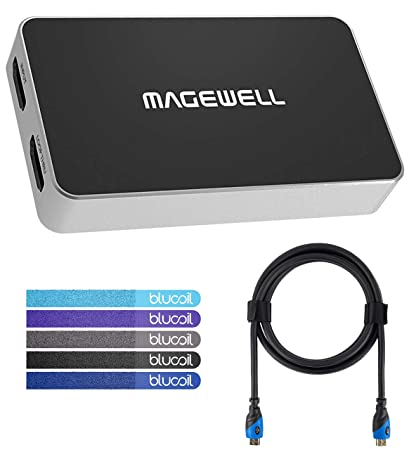 Magewell USB Capture HDMI Plus Video-Capture Dongle - Windows, Linux, Mac,  Chrome OS Compatible Bundle with Blucoil 8ft HDMI Cable and 5-Pack of Cable