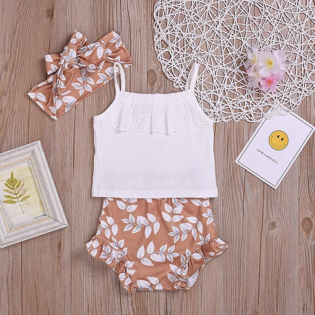Jugendhj Babysuit Infant Baby Girls Strap Lace Tops Floral PP Shorts Hair Band Outfits Sets Summer
