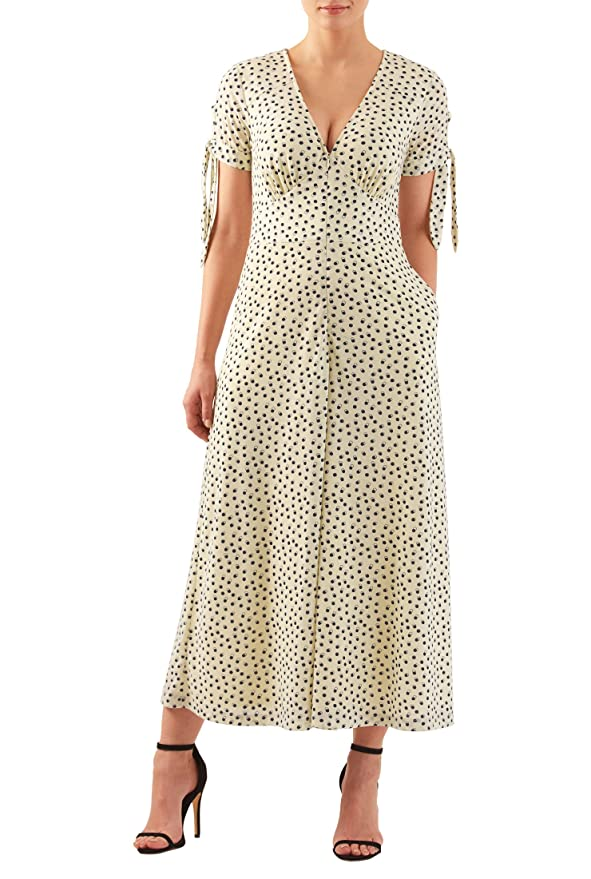 1930s Day Dresses, Afternoon Dresses History eShakti Womens Pleat bodice wide leg dot print cotton knit jumpsuit $49.95 AT vintagedancer.com