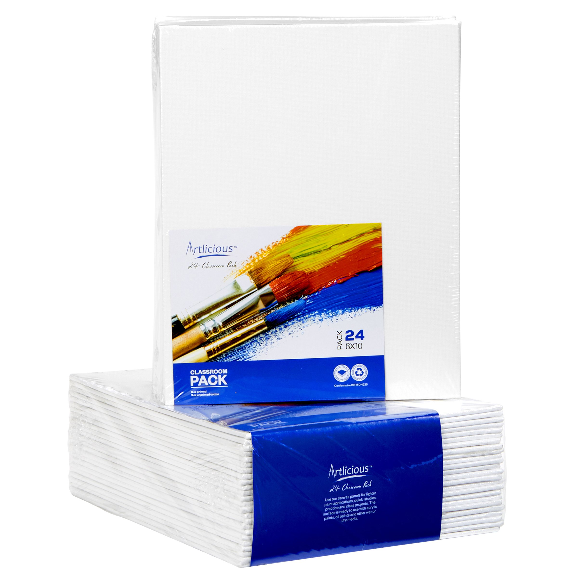 Artlicious - 8x10 Classroom Super Value 24 Pack - Artist Canvas Panel Boards for Painting