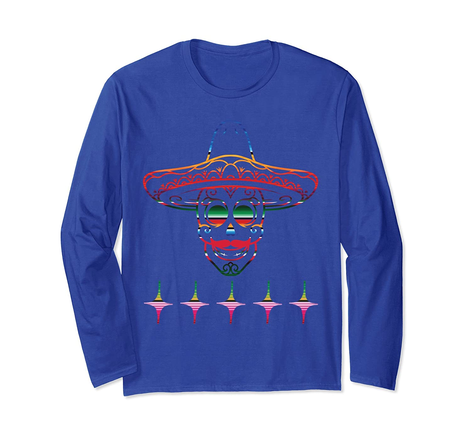 Serape Mexican Style Skull Sombrero Hat Long Sleeve T-Shirt-alottee gift