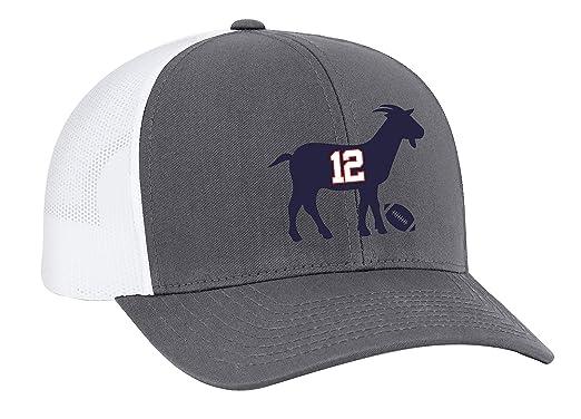75e77f28996ca Patriots  12 G.O.A.T Trucker Mesh Snapback Hat-Graphite-White Mesh at  Amazon Men s Clothing store