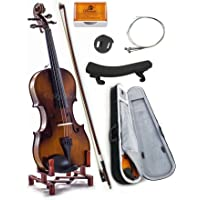 SKY 1/2 Size SKYVN201 Solid Maple Wood Violin with Lightweight Case, Brazilwood Bow, Shoulder Rest, String, Rosin and Mute