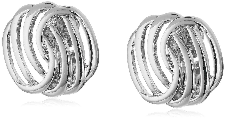"Napier ""Classics"" Silver-Tone Button Clip-On Earrings"