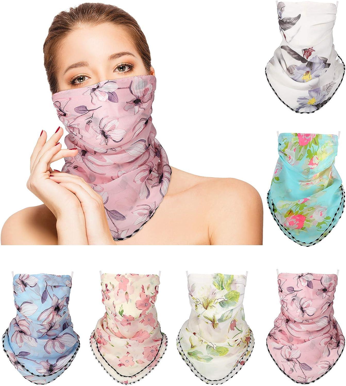 6 Pieces Women Silk Neck Scarf Bandana Sun Protection Face Cover Chiffon Neck Gaiter