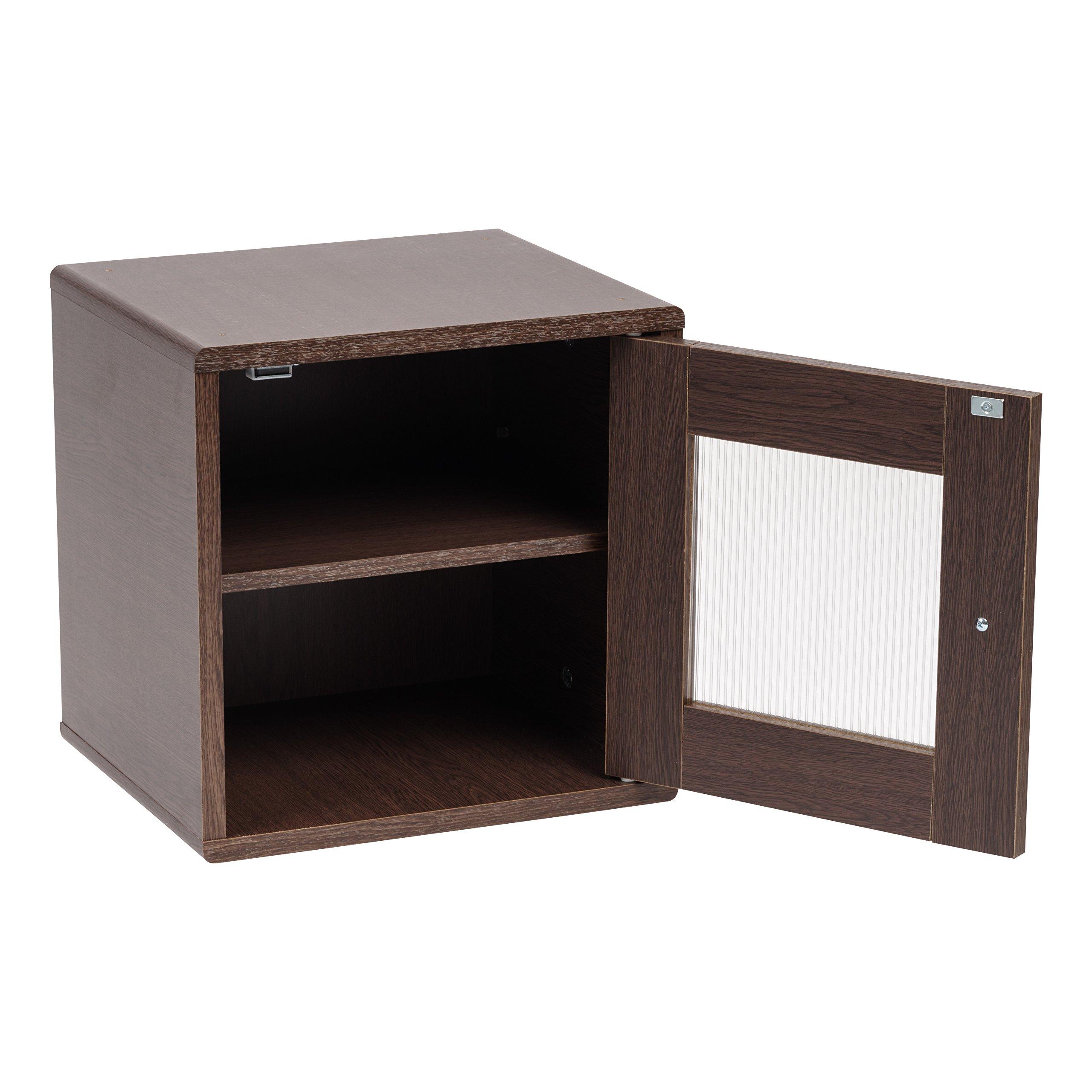 IRIS USA, QR-34PDT, Wood Storage Cube with Window Door, Brown Oak, 1 Pack by IRIS USA, Inc. (Image #3)