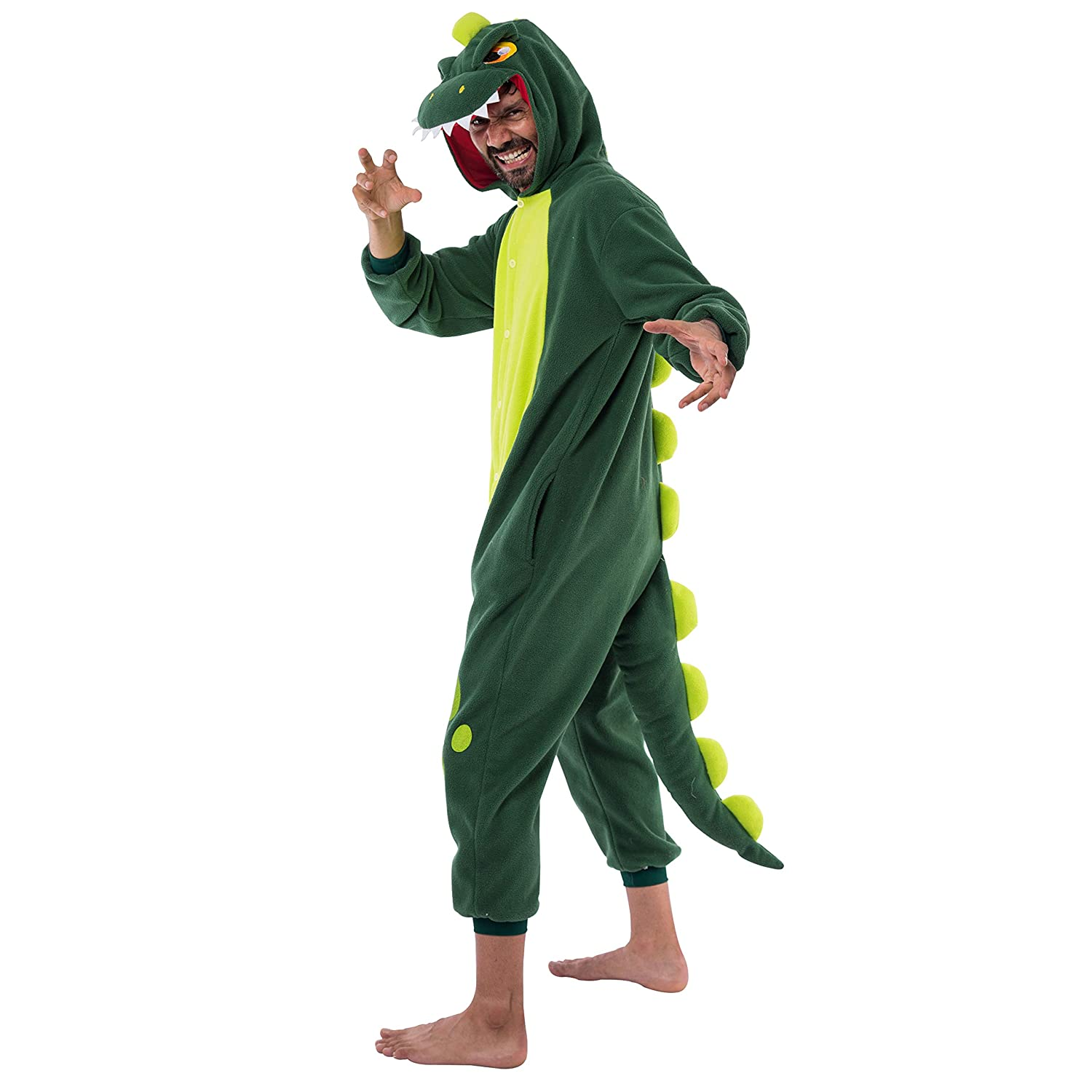 Spooktacular Creations Unisex Adult Pajama Plush Onesie One Piece Dinosaur Animal Costume