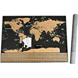 "FOSSA Scratch Off World Map Wall Poster. Large 32"" x 23"" Mark and Track Your Travel - Perfect Gift for Travelers"
