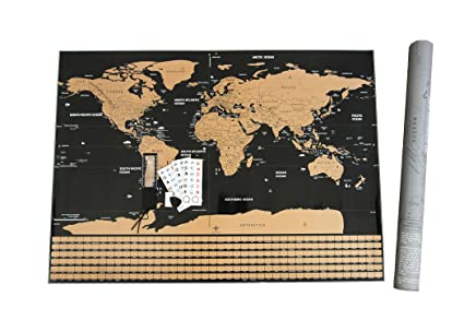 fossa scratch off world map wall poster large 32 x 23 mark and
