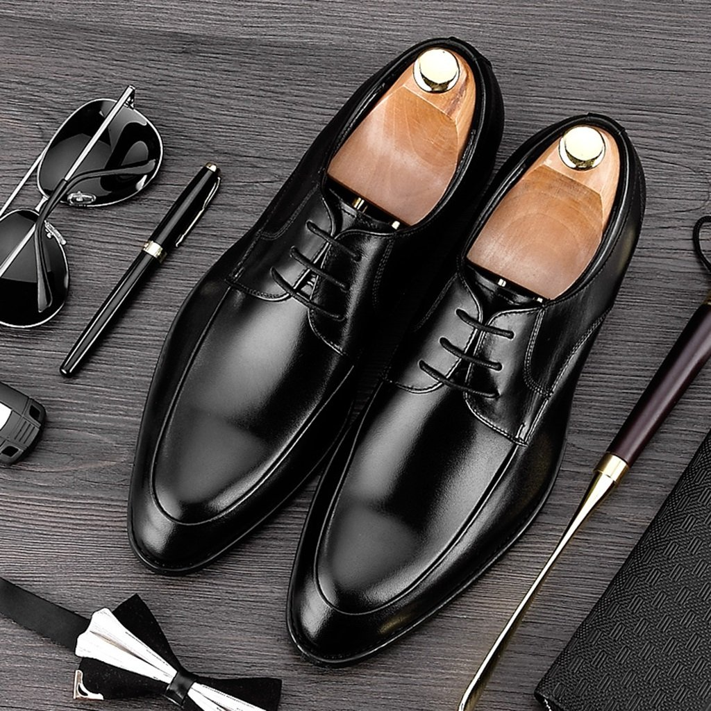 Men's Formal leather shoes Business Formal Men's Wear Leisure Retro Pointed British Tide Shoes EU38/UK5.5|Black B07G6R16W2 8a800c