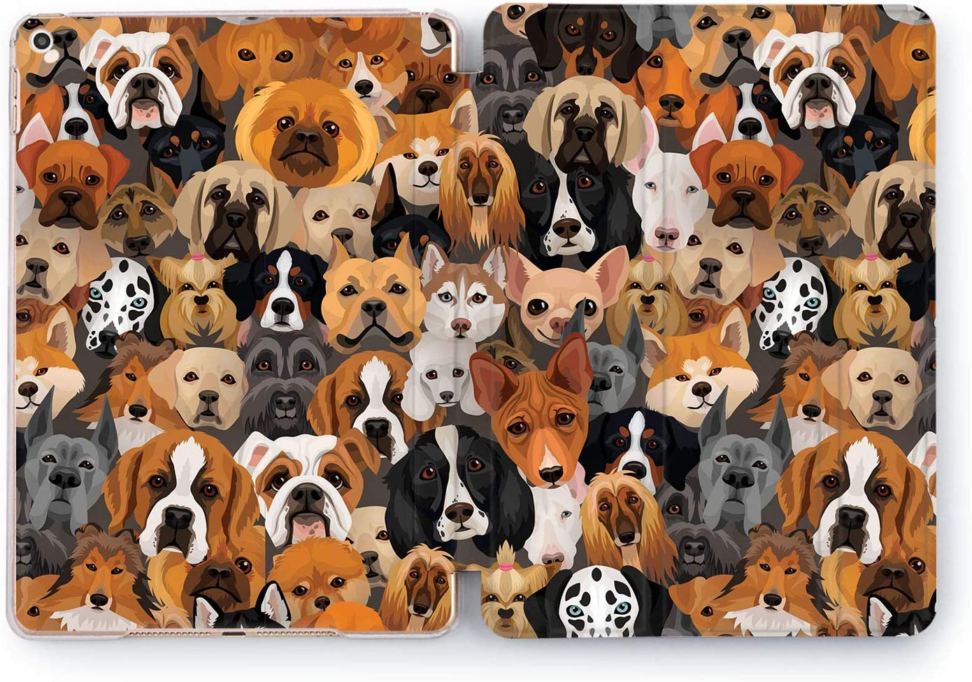 Wonder Wild Dog Picture Design Case for Apple iPad 2 3 4 Pro 9.7 11 inch Mini 1 2 3 4 5 Air 2 10.5 12.9 2018 2017 5th 6th Gen Clear Smart Hard Cover Pet Basset Bulldog Puppy Breeds Akita Dachshund
