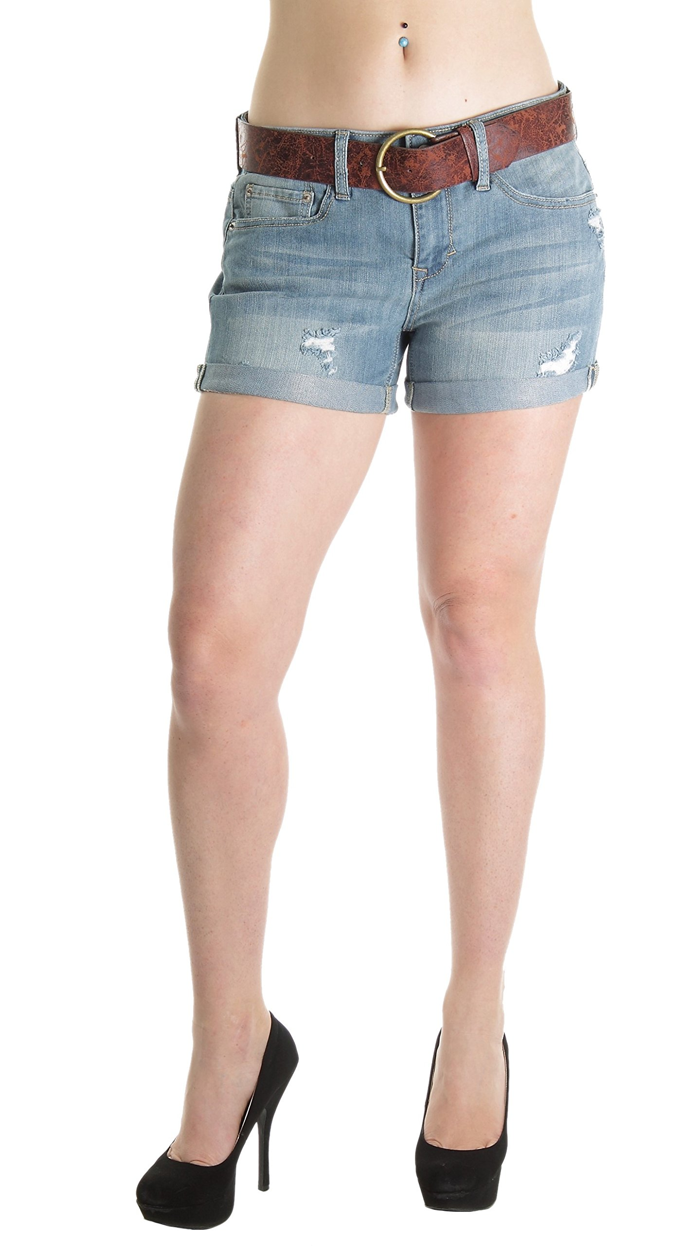Bongo KA8570SH Jeans, Premium Destroyed Ripped Belted Booty Shorts in Washed Blue Size 1