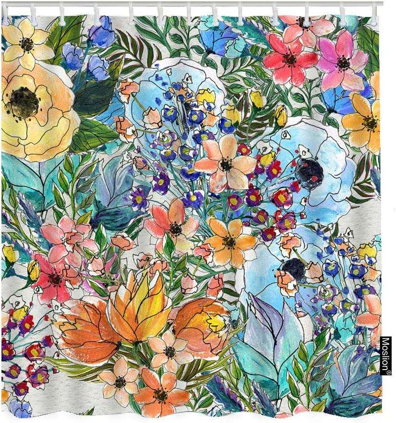Moslion Floral Bath Shower Curtain Set Garden Bouquet Rose Lily Sunflowers Leaves Botanical Plant Shower Curtains Home Decorative Extra Long Polyester Fabric Shower Curtain with Hooks 72x72 Inch