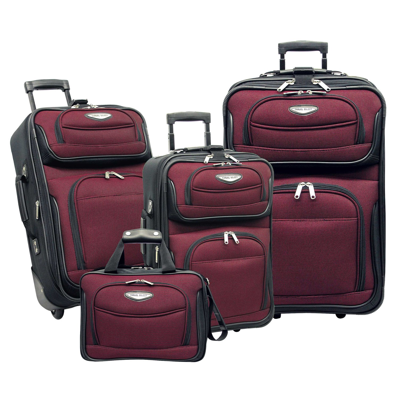Traveler's Choice Amsterdam 4-Piece Luggage Set, Burgundy